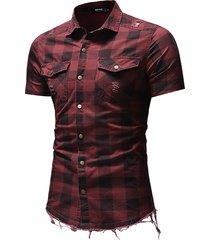 camicie da uomo progettate in tinta unita a manica corta a maniche corte scozzese