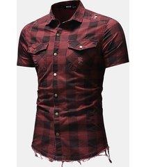 camicie eleganti da uomo a manica corta con tasche corte scozzesi strappate