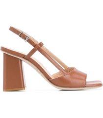 paul warmer 90mm slingback open toe sandals - brown