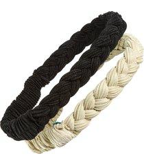 tasha assorted 2-pack braided head wraps, size one size - black
