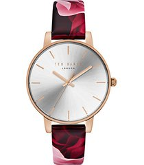 kate floral leather watch