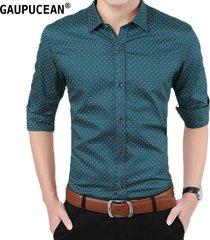 camisas formales manga larga algodón para hombre-verde