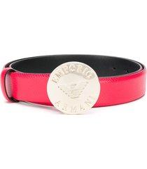emporio armani logo engraved thin belt - red