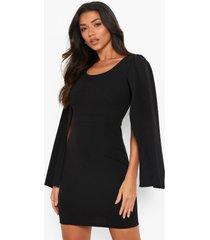 mini jurk met cape mouwen en vierkante hals, black