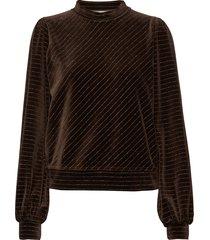 velvet lurex sweat-shirt trui bruin ganni