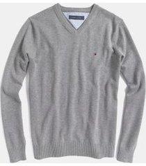 tommy hilfiger men's essential v-neck sweater grey heather - xxxl