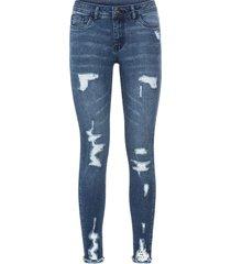 jeans super skinny strappati (blu) - rainbow