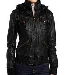 womens hoodie jacket, black color hooded leather jacket, women's leather jacket