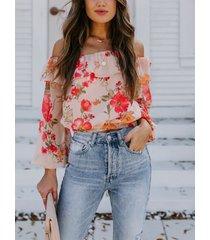 yoins doble capa diseño blusa de manga larga con hombros descubiertos