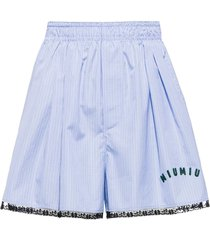 miu miu check-print poplin shorts - blue