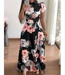 vestido de estilo boho impresión floral de verano-negro