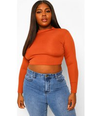 plus open back high neck top, rust