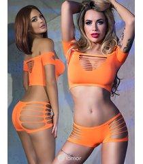 * chilirose top & short in neon oranje