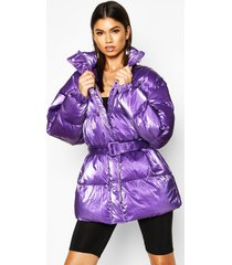 pearlescent belted puffer jacket, purple