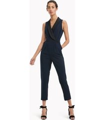 tommy hilfiger women's essential sleeveless tuxedo jumpsuit sky captain / black - 14