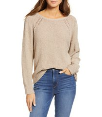 women's caslon boat neck boucle sweater, size small - brown