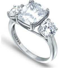 cubic zirconia 3 stone cushion cut ring in fine silver plate