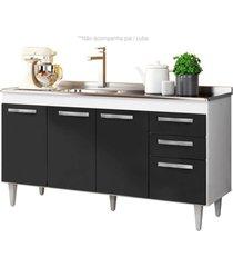 balcão gabinete de pia 150cm lisboa 4pts 2gav branco/preto - lumil móveis