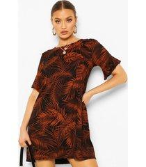 leaf print smock dress, rust