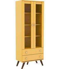 estante  cristaleira amarela