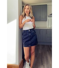 washed black denim paperbag mini skirt - washed black