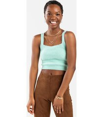 amber fuzzy cropped tank top - green