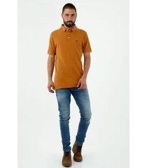 camiseta tipo polo de hombre, manga corta, 100% algodón, color naranja claro
