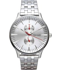 orologio multifunzione con cinturino e cassa in acciaio silver per uomo