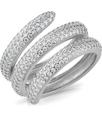 cz by kenneth jay lane women's look of real rhodium-plated & crystal triple swirl ring/size 7 - size 7