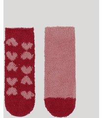kit de 2 meias de inverno infantil em chenille cano médio coração multicor