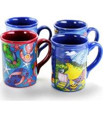 gibson home beachcomber 4 piece 16 ounce stoneware mug set