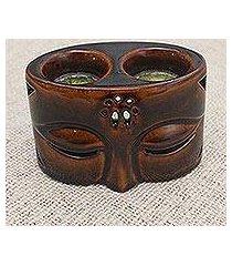ceramic oil warmer, 'buddha's gaze' (indonesia)