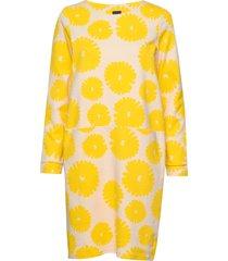ladies dress, mimosa knälång klänning gul nanso