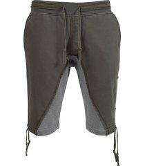 50-50 fleece shorts, army green and grey