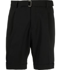 briglia 1949 pleat-detail belted tailored shorts - black
