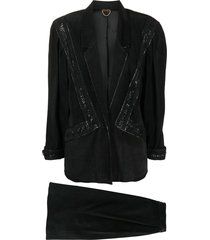 a.n.g.e.l.o. vintage cult 1980s single-breasted skirt suit - black