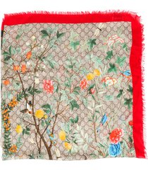 gucci tian foulard gg floral silk scarf brown/multicolor/monogram sz: