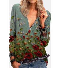 camicetta vintage a maniche lunghe con scollo a v con cerniera e stampa floreale per donna