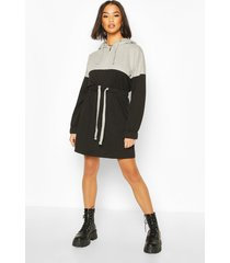 colour block hooded oversized dress, black
