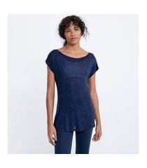 camiseta esportiva em viscose botonê com manga curta | get over | azul | m