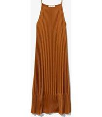 proenza schouler white label crepe pleated slip dress walnut/brown 6