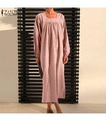 zanzea vestido de camisa larga con cuello cuadrado vintage para mujer vestido largo largo para mujer de gran tamaño plus -rosado