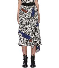x alexander girard slogan print asymmetric hem midi skirt