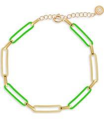 gabi rielle women's love is love 14k gold vermeil & turquoise-tone french enamel paperclip bracelet
