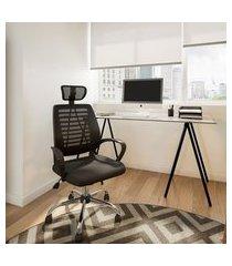 cadeira de escritório diretor giratória free preta