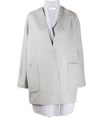 fabiana filippi cashmere draped cardi-coat - grey