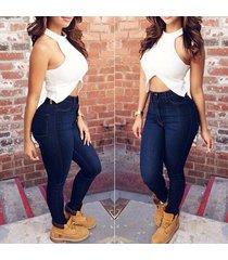 fashion women high waisted pencil stretch denim jeans pants ladies skinny tight