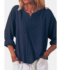 camicetta casual a maniche lunghe con scollo a v in cotone tinta unita per donna