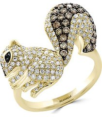 14k yellow gold, white diamond, black diamond & espresso diamond chipmunk ring