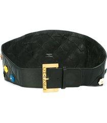 chanel pre-owned 1990s camellia flower waist belt - black